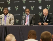 ST. FRANCIS, WI - JULY 9: Recently signed free agents Greg Monroe and Khris Middleton of the Milwaukee Bucks are joined by general manager John Hammond and head coach Jason Kidd during a press conference at the Orthopaedic Hospital of Wisconsin Training Center on July 9, 2015  in St. Francis, Wisconsin. NOTE TO USER:  User expressly acknowledges and agrees that, by downloading and or using this Photograph, user is consenting to the terms and conditions of the Getty Images License Agreement.  Mandatory Copyright Notice:  Copyright 2015 NBAE (Photo by Gary Dineen/NBAE via Getty Images)