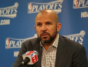 CHICAGO, IL - APRIL 20:  Head Coach Jason Kidd of the Milwaukee Bucks speaks to the media after Game Two of the Eastern Conference Quarterfinals against the Chicago Bulls during the NBA Playoffs on April 20, 2015 at the United Center in Chicago, Illinois. NOTE TO USER: User expressly acknowledges and agrees that, by downloading and or using this Photograph, user is consenting to the terms and conditions of the Getty Images License Agreement. Mandatory Copyright Notice: Copyright 2015 NBAE (Photo by Gary Dineen/NBAE via Getty Images)
