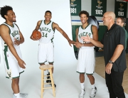 ST. FRANCIS, WI - SEPTEMBER 28: (L-R) Jabari Parker #12 Giannis Antetokoumpo #34, Michael Carter-Williams #5 and Head coach Jason Kidd of the Milwaukee Bucks share a laugh during Media Day on September 28, 2015 at the Orthopaedic Hospital of Wisconsin Training Center in St Francis, Wisconsin. NOTE TO USER: User expressly acknowledges and agrees that, by downloading and or using this Photograph, user is consenting to the terms and conditions of the Getty Images License Agreement. Mandatory Copyright Notice:  Copyright 2015 NBAE (Photo by Gary Dineen/NBAE via Getty Images)