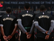 CHICAGO, IL - OCTOBER 6:  The Milwaukee Bucks line up before the game against the against the Chicago Bulls during a preseason game on October 6, 2015 at the United Center in Chicago, Illinois. NOTE TO USER: User expressly acknowledges and agrees that, by downloading and or using this Photograph, user is consenting to the terms and conditions of the Getty Images License Agreement. Mandatory Copyright Notice: Copyright 2015 NBAE (Photo by Gary Dineen/NBAE via Getty Images)