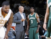 EVANSVILLE, IN - OCTOBER 12:  Jason Terry #3 and Jason Kidd of the Milwaukee Bucks talk it out during a preseason game against the Indiana Pacers on October 12, 2016 at Ford Center in Evansville, Indiana. NOTE TO USER: User expressly acknowledges and agrees that, by downloading and or using this Photograph, User is consenting to the terms and conditions of the Getty Images License Agreement. Mandatory Copyright Notice: Copyright 2016 NBAE (Photo by Joe Robbins/NBAE via Getty Images)