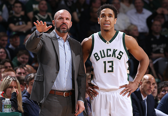 Milwaukee, WI - JANUARY 25: Malcolm Brogdon #13 and Jason Kidd of the Milwaukee Bucks talk during the game against the Philadelphia 76ers on January 25, 2017 at the BMO Harris Bradley Center in Milwaukee, Wisconsin. NOTE TO USER: User expressly acknowledges and agrees that, by downloading and or using this Photograph, user is consenting to the terms and conditions of the Getty Images License Agreement. Mandatory Copyright Notice: Copyright 2017 NBAE (Photo by Gary Dineen/NBAE via Getty Images)